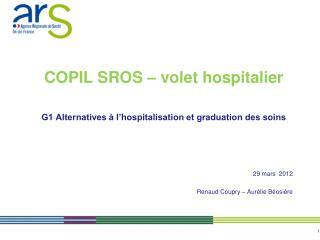 COPIL SROS � volet hospitalier G1 Alternatives � l�hospitalisation et graduation des soins