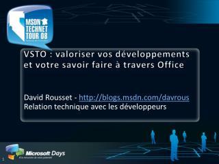 VSTO : valoriser vos d veloppements et votre savoir faire   travers Office