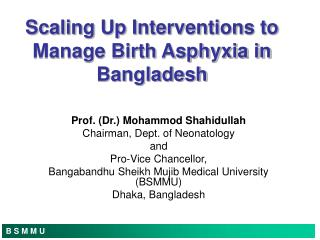 Scaling Up Interventions to Manage Birth Asphyxia in Bangladesh