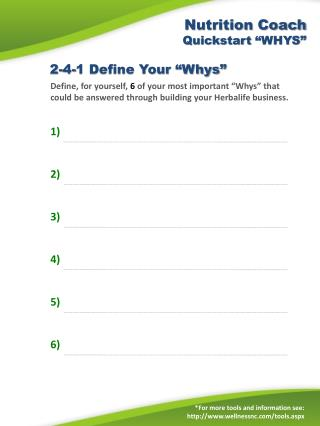 "Nutrition Coach  Quickstart  ""WHYS"""