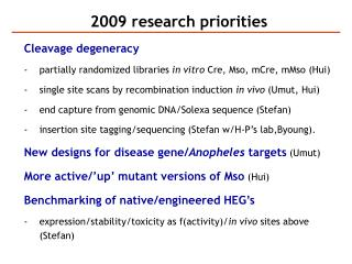 2009 research priorities