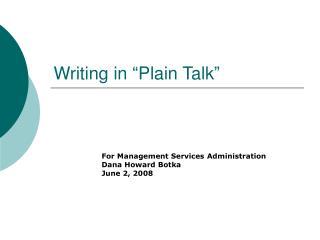 "Writing in ""Plain Talk"""