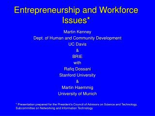 Entrepreneurship and Workforce Issues*