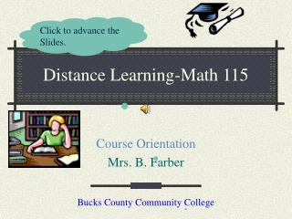 Distance Learning-Math 115