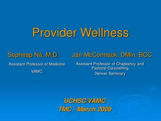 Provider Wellness