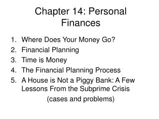 Chapter 14: Personal Finances