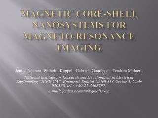 Magnetic Core-Shell Nanosystems for Magneto-Resonance Imaging