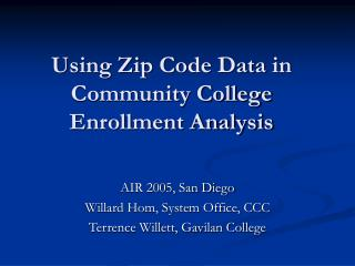 Using Zip Code Data in Community College Enrollment Analysis