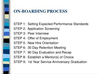 ON-BOARDING PROCESS