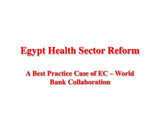 Egypt Health Sector Reform