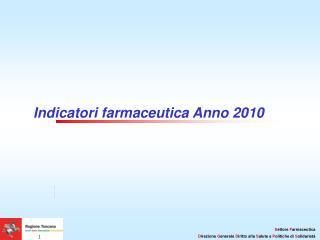 Indicatori farmaceutica Anno 2010