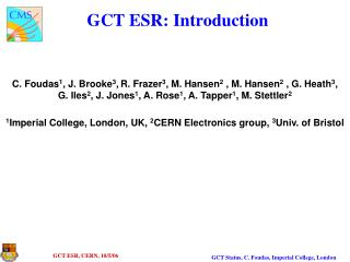 GCT ESR: Introduction