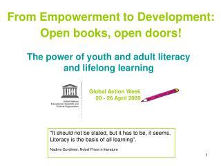 From Empowerment to Development: Open books, open doors!