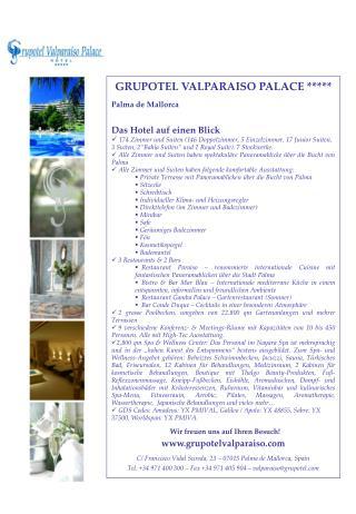GRUPOTEL VALPARAISO PALACE ***** Palma de Mallorca Das Hotel auf einen Blick