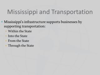 Mississippi and Transportation