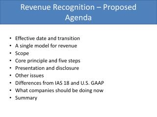 Revenue Recognition – Proposed Agenda