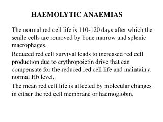 HAEMOLYTIC ANAEMIAS