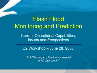 Flash Flood  Monitoring and Prediction