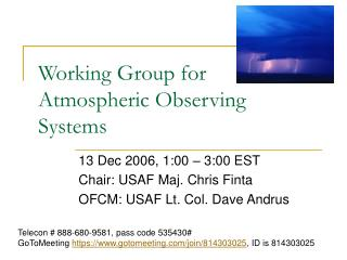 Working Group for Atmospheric Observing Systems