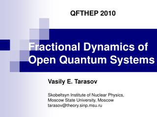 Fractional Dynamics of  Open Quantum Systems