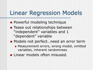 Linear Regression Models