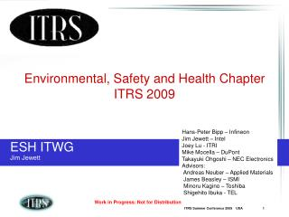 Environmental, Safety and Health Chapter ITRS 2009