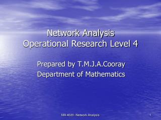 Network Analysis Operational Research Level 4