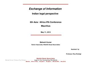 Exchange of Information Indian legal perspective