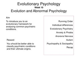 Evolutionary Psychology Week 10 Evolution and Abnormal Psychology