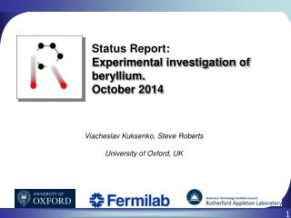 Status Report: Experimental investigation of beryllium.  October  2014