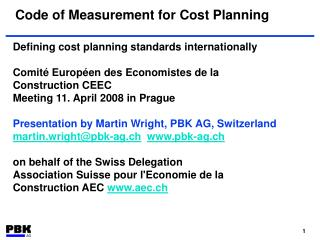 Code of Measurement for Cost Planning