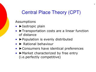 Central Place Theory CPT