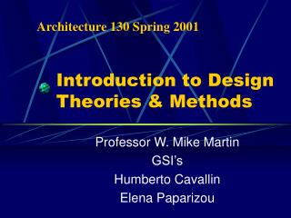Introduction to Design Theories & Methods