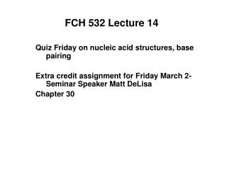 FCH 532 Lecture 14