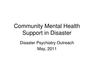 Community Mental Health Support in Disaster