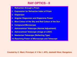 RAY OPTICS - II