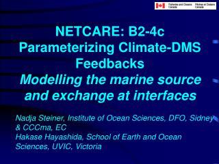 NETCARE: B2-4c Parameterizing Climate-DMS Feedbacks