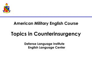 American Military English Course Topics in Counterinsurgency
