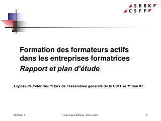 Formation des formateurs actifs dans les entreprises formatrices Rapport et plan d��tude