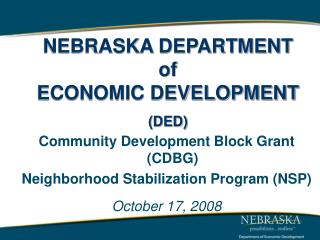 Community Development Block Grant (CDBG) Neighborhood Stabilization Program (NSP) October 17, 2008