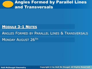 Angles Formed by Parallel Lines and Transversals