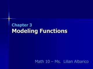 Chapter 3 Modeling Functions