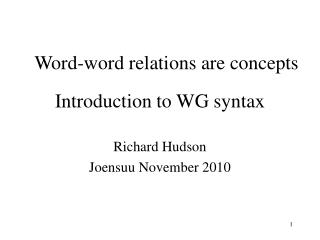Introduction to WG syntax