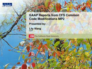 GAAP Reports from CFS Common Code Modifications MP2 Presented by: Lily Wang AUDIT