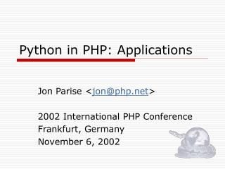 Python in PHP: Applications