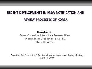 Recent Developments in M&A Notification and  Review Processes of Korea