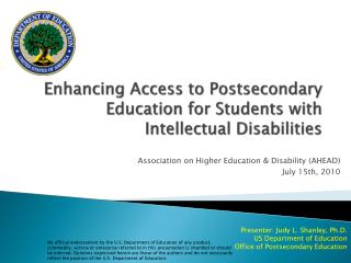 Enhancing Access to Postsecondary Education for Students with Intellectual Disabilities