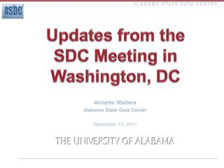 Updates from the  SDC Meeting in Washington, DC