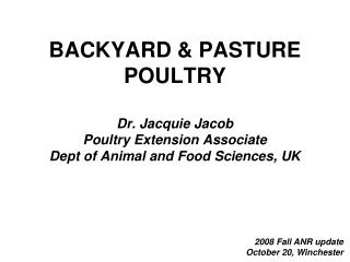 BACKYARD & PASTURE POULTRY