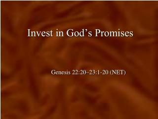 Invest in God's Promises